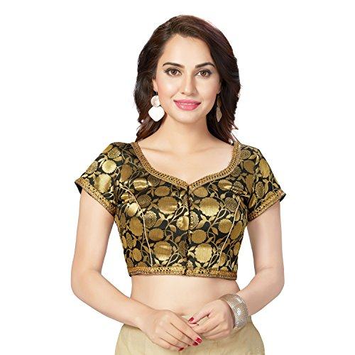 TrendyFashionMall Readymade Designer Gold Brocade Silk Saree Blouse Collection