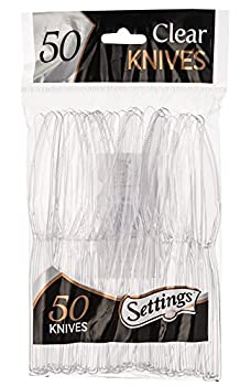 Settings Clear Plastic Cutlery Disposable Knives 50 Party Knives Per Package