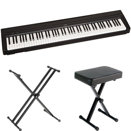 Yamaha P71 88-Key Weighted Action Digital Piano with Sustain Pedal, Power Supply, Stand, and Bench by YAMA9