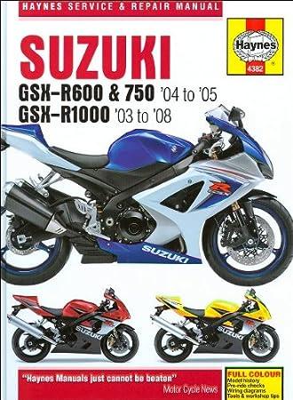 2005 suzuki gsxr 600 wiring diagram amazon com haynes repair manual 4382 for suzuki gsxr600 gsxr750  haynes repair manual 4382 for suzuki