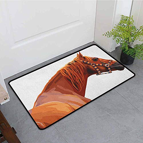 (Animal Thin Door mat Race Jokey Horse Pure Noble Animal Ride Hobby Nature Vehicle Artwork Paint Environmental Protection W23 x L35 White and Cinnamon )