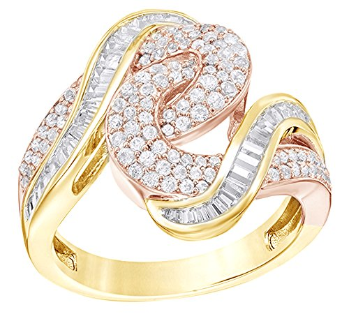 AFFY Round & Baguette Shape White Natural Diamond Bypass Swirl Ring in 14K Two Tone Solid Gold (1 Ct) (Baguette Swirl Bypass Ring)