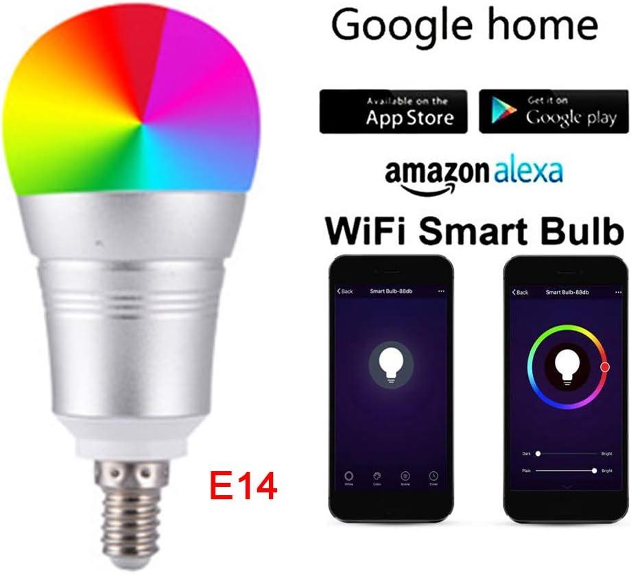 Bombilla inteligente con control inalámbrico de aplicación móvil E14 RGBW 12 W WiFi bombilla LED regulable, color ajustable, temporizador compatible para Alxea/Google Assistant