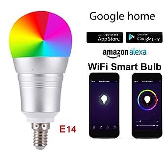 Bombilla inteligente con control inalámbrico de aplicación móvil E14 RGBW 12 W WiFi bombilla LED regulable