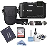 Nikon COOLPIX AW130 16.0-Megapixel 5X Optical Waterproof Digital Camera + Extra Battery, 64GB Memory Card+ Accessory Zone cloth + Accessory Bundle (Black)