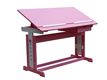 Childrenu0027s Writing Desk Tilting Top Height Adjustable Table 2 Colours Pink