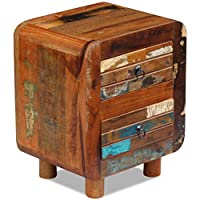 Festnight Side End Table Reclaimed Wood Nightstand with 2 Storage Drawers Bedside Cabinet for Home Office Living Room Furniture