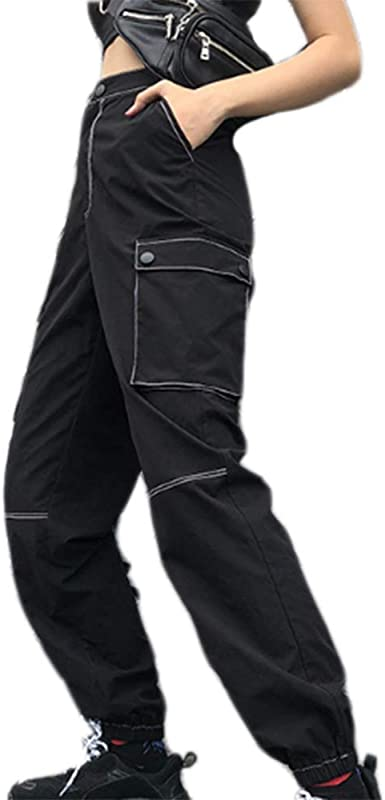 Keephen Comodo Pantalon Joker De Algodon Para Mujer Pantalon Hip Hop De Bolsillo Delgado Monos Amazon Es Ropa Y Accesorios