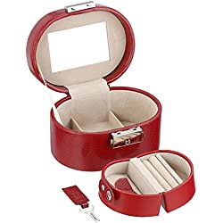 Wolf Designs 281404 Heritage Collection Travel Mini Oval Jewelry Box, Red
