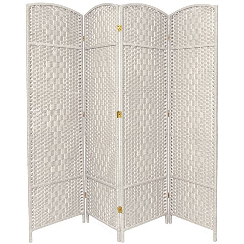 - Oriental Furniture 6 ft. Tall Diamond Weave Fiber Room Divider - White - 4 Panel