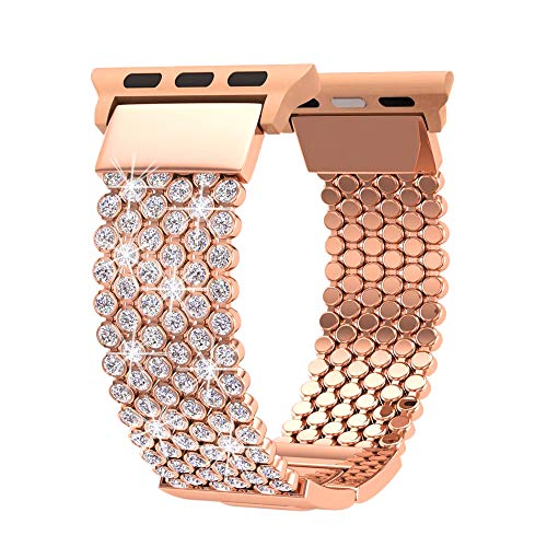 FresherAcc Compatible with Apple Watch Band 40mm 38mm iWatch Bands Series 4 3 2 1 Women Girls, Crystal Rhinestone Replacement Strap, Mesh Chain Jewelry Wristband (38mm/40mm Rose Gold)