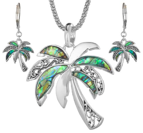 (Jewelry Nexus Green Abalone Palm Tree with Filigree Pattern in a Silver-tone Popcorn Chain & Earrings)