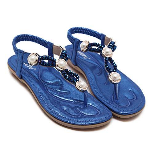 Élégant Style D'été Fortuning's Bleu Occidental Femmes Plat JDS® Sandale Perlé Plage awf0F