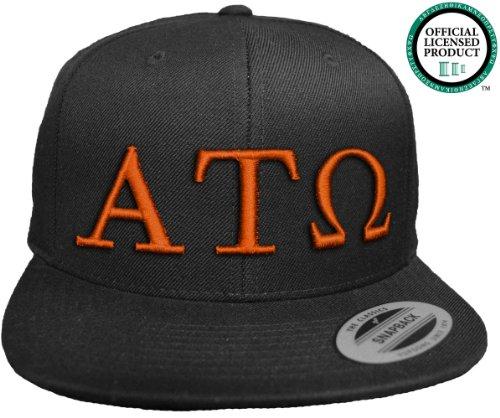 ALPHA TAU OMEGA Flat Brim Snapback Hat Orange Letters / ATO | Tau | Fraternity Cap