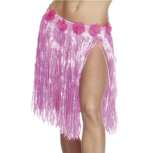 Smiffy's Women's Hawaiian Hula Skirt Neon with Flowers Elasticated Waist 46Cm 18 Inches, Pink, One ()