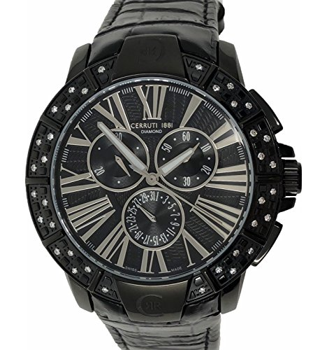 Cerruti 1881 Ladies Chronograph Watch Black Ceramic with Leather Strap Diamond CRWDM007V222Q