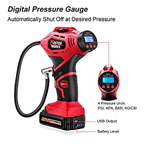 Tire inflator, Masterworks 20V Cordless Air Pump for Tires, with Rechargeable Lithium-ion Battery, 12V Car Power Adapter, Easy-to-Read Digital Pressure Gauge, LED Light, MW110D