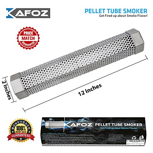 Pellet Smoker Tube 12'' - 5 Hours Billowing Smoke Any Grill Smoker, Hot Cold Smoking - Easy, Safe Tasty Smoking by Kafoz
