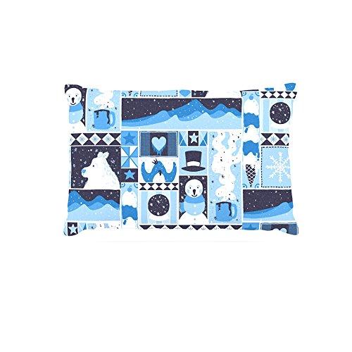30 by 40\ Kess InHouse Tobe Fonseca Winter  bluee Seasonal Fleece Dog Bed, 30 by 40