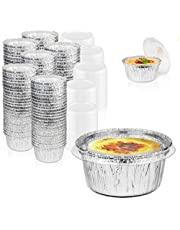 [200 Pack] Disposable Foil Ramekins with Lids - 4 oz Aluminum Custard Cups with Lids - Disposable Foil Baking Cups for Creme Brulee or Cupcake