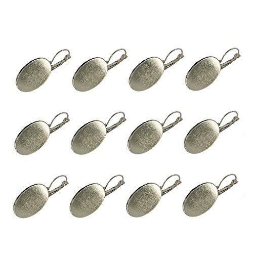 Argent 12pcs Boucle Fityle Lunette Paramètres De Cabochon Plaqué Conclusions 25x18mm D'oreille Ovale qd660B