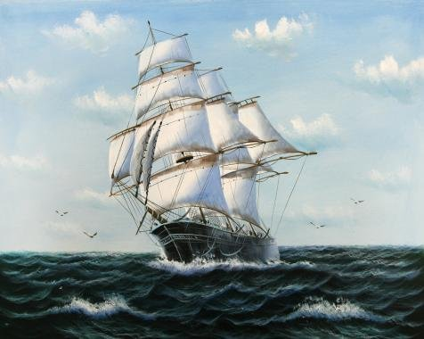 'Sailing Ship On The Ocean' Oil Painting, 20x25 Inch /