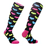 Samson Hosiery  Funky Funny Socks Gift Novelty Party Vintage Retro Fashion Sports Running Knee High For Men Women Kids Unisex (Small 12-3, 80s Hearts)