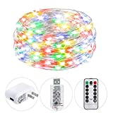 HSicily Fairy Lights Plug in, USB Christmas Lights 8 Modest 100 LED 33ft String Lights with Remote Control Timer for Wedding Party Bedroom Indoor Outdoor Decorations