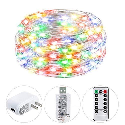 HSicily Fairy Lights Plug in 8 Modes 33ft 100 LED Decorative Lights with Remote Control Timer USB String Lights for Bedroom Indoor Outdoor Wedding Party Dorm Decor Multi Color
