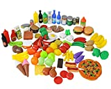 Play Food Set for Kids & Toy Food for Pretend Play, Huge 130 Pieces Pretend Food Toys Play Kitchen Toys Set with Childrens Educational Food Toys for Toddlers Inspires Imagination Random Styles