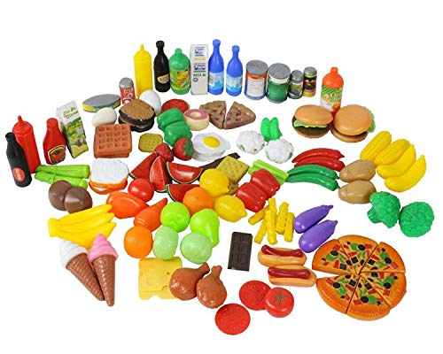 Play Set Food Classroom - Play Food Set for Kids & Toy Food for Pretend Play, Huge 130 Pieces Pretend Food Toys Play Kitchen Toys Set with Childrens Educational Food Toys for Toddlers Inspires Imagination Random Styles