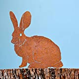 Elegant Garden Design Mama Bunny, Steel Silhouette with Rusty Patina