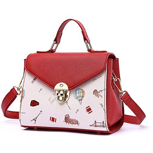 Color Ladies Version The Wild White Fashion red red Backpack Wine Korean Summer Ladies Shoulder of Bag Handbag The Tide Wine White of Oblique Atmosphere qSWETv