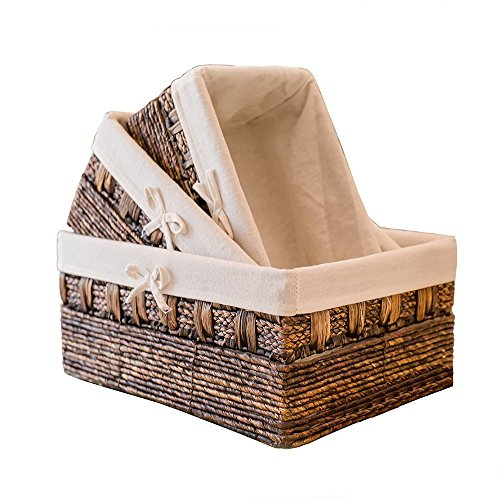 Handmade Woven Maize and Hyacinth Storage Basket,Kingwillow, (Set of 3) (Rope Set Woven Boxes)