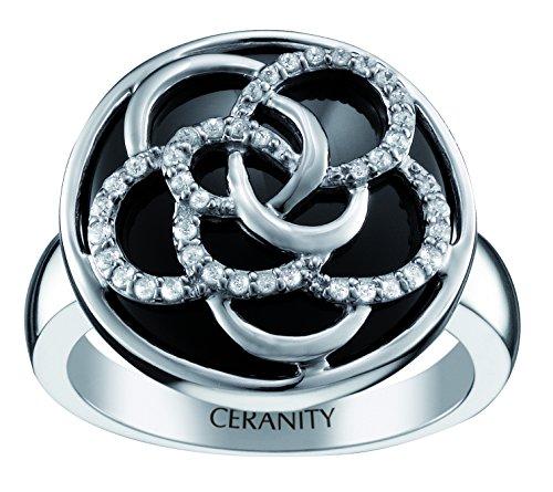 Ceranity - 1-12/0072-N - Bague Femme - Fleur - Argent 925/1000 5.92 gr - Céramique - Oxyde de zirconium - Noir/Blanc
