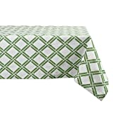 DII 100% Cotton, Machine Washable, Everyday Damask Kitchen Tablecloth for Dinner Parties, Summer & Outdoor Picnics - 60x104 Seats 8 to 10 People, Bamboo Lattice