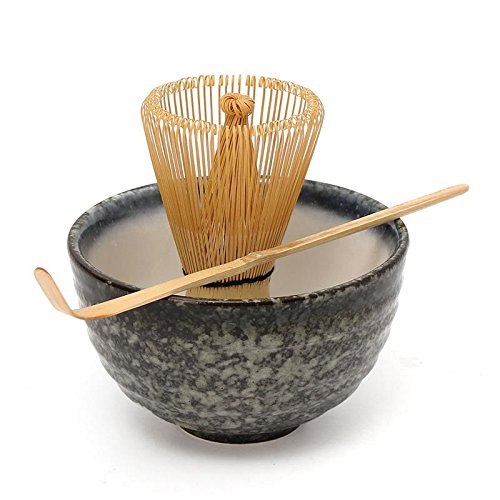 Katoot@ Hot Sale 3pcs sets Bamboo Matcha Tea Ceremony Gift Set with Ceramic Tea Bowl Scoop Powder Whisk Chasen Japanese Teaware Present