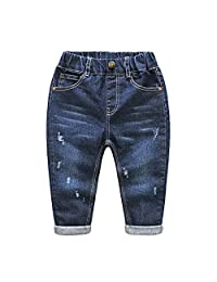 ALLAIBB Little Toddler Boys Jeans Destroyed Stretchable Blue Denim Pants Casual Wear