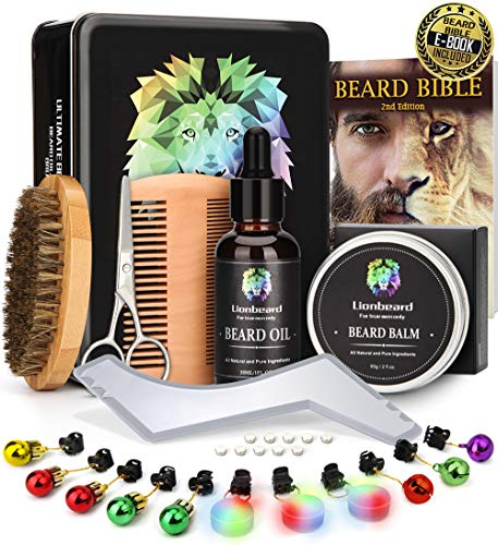 Lionbeard Metal Box Beard Kit for Men Beard Care Growth Grooming & Trimming – Beard Oil Conditioner, Beard Glitter Lights, Christmas Ornaments, Balm Wax, Brush, Comb, Scissors, Xmas Gifts for Him Dad