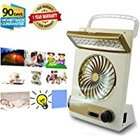 Portable Fan Solar Mini Fan LED Table Lamp 3 in 1 Multi-function Eye-Care Flashlight Light for Home Camping Solar Cooling Fans(Gold)