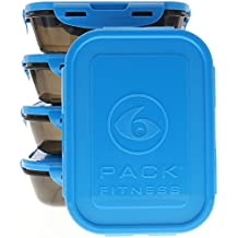 6 Pack Fitness Sure Seal Containers 20oz Black/Neon Blue Set of 5