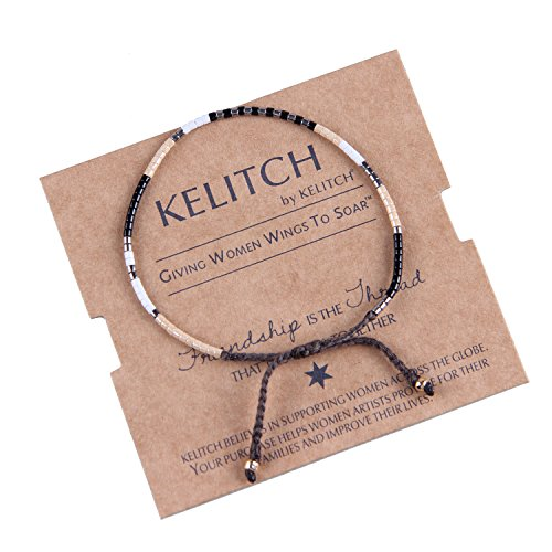 KELITCH+Multicolor+Crystal+Shell+Beaded+Friendship+Bracelets+Hand+Woven+New+Jewelry+%28Black+White%29
