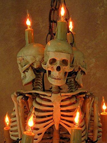 Skeleton Chandelier, Three Harvey Jr. Skeletons Holding Candles