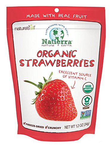 Freeze Dried Strawberries - Natierra Nature's All Foods Organic Freeze-Dried and Crunchy, Strawberries Flavor, 1.2 Oz