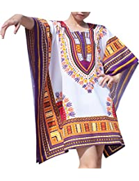 Brand Festival Shirt Batwing Flap Sides Bright Africa Dashiki Print