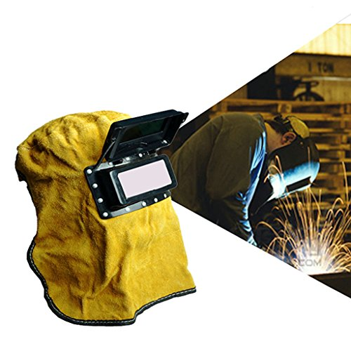 (Techinal Yellow Leather Welding Helmet Mask With Solar Auto Darkening Filter Lens Face Hood)