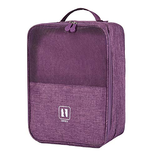 Travel Shoe Bag 3 in 1 Shoe Organizer Space Saving Storage Bags Tote Pouch with Zipper for Men Women (Purple)