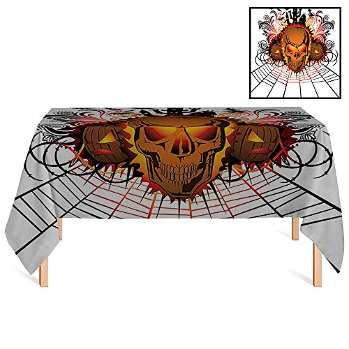 SATVSHOP Decorative Table Cloth /55x86 Rectangular,Halloween rations Angry Skull Face on Bonfire Effect Spirits of Other World Concept Bats and Spider Web for Wedding/Banquet/Restaurant. -