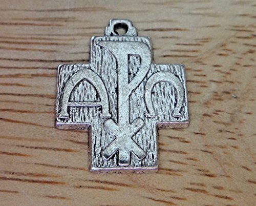 (Pewter 20x16mm Chi Rho Alpha Omega Religious Symbol Cross Charm Jewelry Making Supply, Pendant, Charms, Bracelet, DIY Crafting by Wholesale Charms)