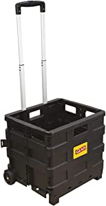 Glad Foldable Rolling Pull Cart with Telescopic Handle   Heavy Duty Folding Plastic Box with Wheels   Portable Carrier for On The Go   Collapsible Storage Crate